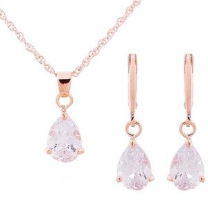 NEW!💙💎ROSE💗GOLD COLOR!💎💙NECKLACE EARRING SET!
